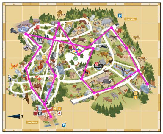 Zoo Wegeplan für die Lehrgänge