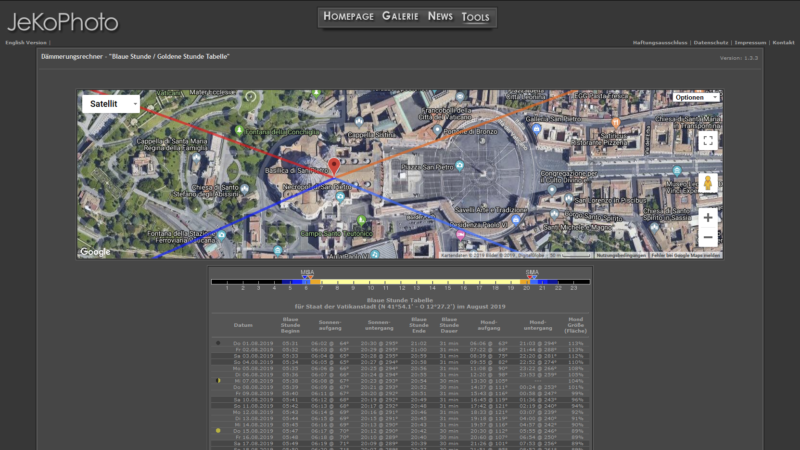 Screenshot vom Dämmerungsrechner