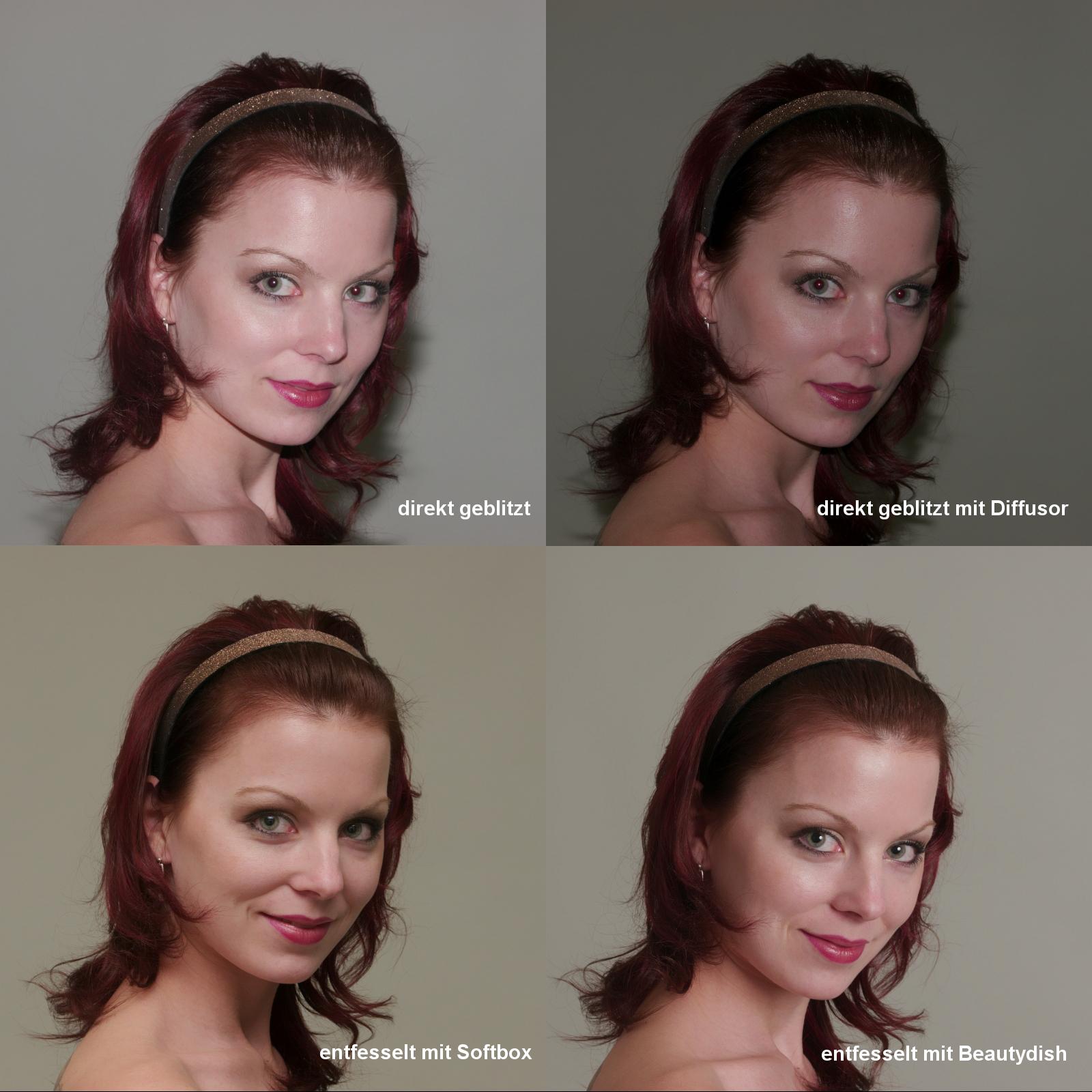 Vier Bilder einer jungen Frau, die mit verschiedenen Blitzarten fotografiert wurde