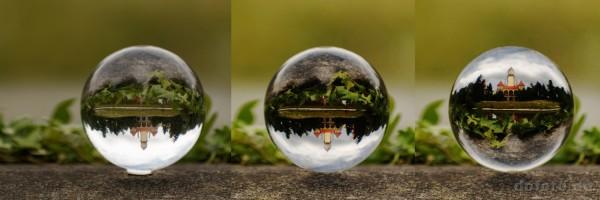 Abb.16: Bild links original; Bild mitte mit Kontrastanhebung und entferntem Dichtungsring, Bild rechts in der Kugel gedreht